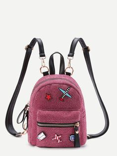 3172508f58 Shop Airplane And Star Patch Backpack With Adjustable Strap online. SHEIN  offers Airplane And Star Patch Backpack With Adjustable Strap   more to fit  your ...