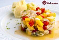 Cómo preparar un tartar de pescado de rechupete. Una receta de verano con rape muy fácil y rápido, con un toque de mango. Paso a paso, fotos y consejos.