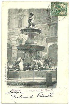 1902 Rare vintage postcard from Italy to France. Subject: Ancona - Fontana dei cavalli. Printer: Alterocca Terni. Serie: 581. ...
