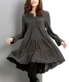 Another great find on #zulily! Charcoal Button-Front Dress by Reborn Collection #zulilyfinds