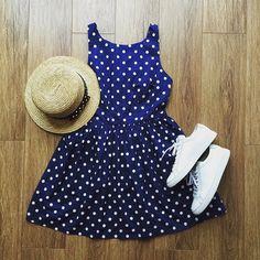 Polka Dots Navy Cute Retro Sundress