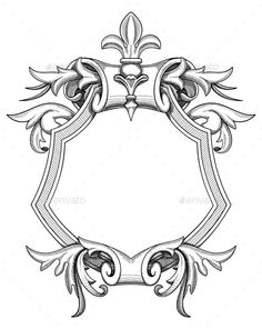 Buy Baroque Shield Drawing by abirvalg on GraphicRiver. Blank baroque shield with floral ornament and stroked shades. Hand drawn vintage heraldic insignia design isolated on. Letter G Tattoo, Shield Drawing, Baroque Art, Baroque Design, Tattoo Life, Border Design, Coat Of Arms, Graphic Design Illustration, Antique Art