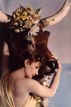 Madame Yevonde: Baroness Gagern as Europa. Lovely how her hair blends with the pelt of the bull. Europa is besotted with love for Zeus, in the moment before (or perhaps the moment after?) her abduction. (Got a cigarette?)