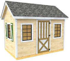 The Mattie shed plan is a basic gable style roof storage shed with six windows and handsome look.