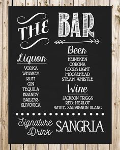 Wedding Drink Sign Bar Sign Signature Drink by thelyricshoppe