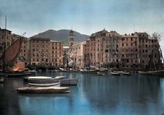 1935, Italy --- A view of ships at port in a small Italian town taken by Hans Hildenbrand/National Geographic Society/Corbis