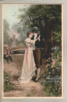Couple kissing in park cupid love romantic art