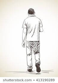 Sketch Of Walking Man Back View Hand Drawn Illustration In 2020 Father And Son Walking Man How To Draw Hands
