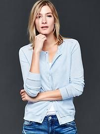 Cotton pointelle-trim cardigan