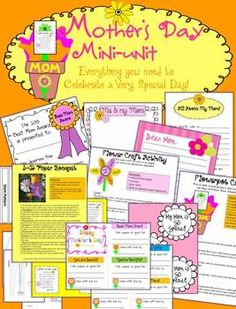 mother's day printables, writing activities and craft patterns & lesson plans
