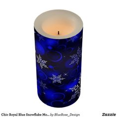 Chic Royal Blue Snowflake Motif Flameless Candle Flameless Candles, Pillar Candles, Christmas Items, Holiday Treats, Christmas Card Holders, Decorating Your Home, Keep It Cleaner, Holiday Cards, Snowflakes