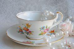 VANDERWOOD Vintage Bone China Tea Cup and Saucer by HoneyandBumble, $18.00