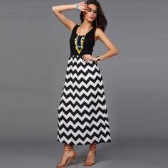 dd49eb443f9b Sensational Bohemian Print Waves Pattern Sleeveless Casual Long Dress