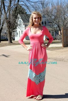 Pink and mint chevron lace maxi dres $44