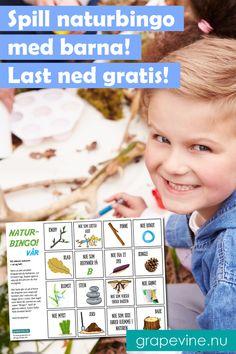Naturbingo – morsom utendøraktivitet for familien! Bingo, Quiz, Grape Vines, Finland, Picnic, Kindergarten, Picnic Ideas, Animals, Air Fresh