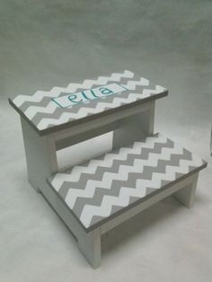 Children's Step Stool (chevron with name)