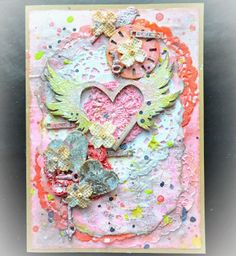 Song Li_Mixed Media Grungy Valentines Card With Shimmerz