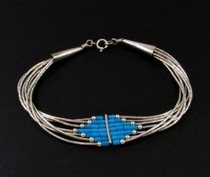 Liquid Silver Turquoise Bracelet Sterling by LisaWitmerCollection
