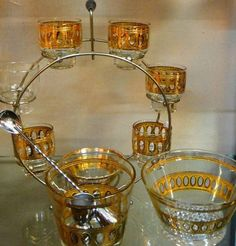 Midcentury Bar Set with Glass Caddy