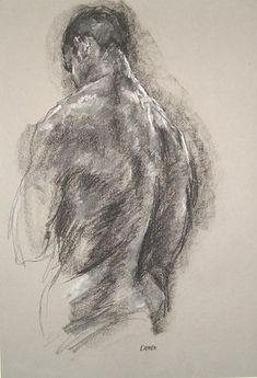 gesture drawing, Male Back - Figure drawing in pastel and conte by Derek…