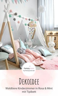 Mädchenzimmer mit Tipibett & Waldtieren in Rosa & Mint Looking for nursery ideas for toddlers? We show you how you can make a small nursery beautiful! A tipi bed is always a good idea, because it can be set up… Continue Reading → - Baby Room Diy, Baby Bedroom, Baby Room Decor, Nursery Room, Girls Bedroom, Nursery Ideas, Sheep Nursery, Girl Rooms, Fantasy Bedroom