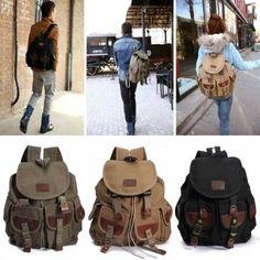 Les femmes vintage et sac à dos en cuir de toile Voyage de randonnée le sac d'école sacoche militaire des hommes
