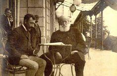 historicas_09 D. Pedro II sentado à mesa junto com seu médico, conde de Mota Maia, na estação de cura de Aix-les-Bains, no Hotel Splendide em Julho de 1888.