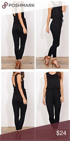 Harem low back jumpsuit Light rayon jersey spandex knit low back black harem jumpsuit PLEASE USE Poshmark new option you can purchase and it will give you the option to pick the size you want ( all sizes are available) BUNDLE And SAVE 10% ( sizes updated daily ) Pants Jumpsuits & Rompers
