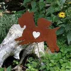Rusty Finish Metal Garden Art Scottie Scottish Terrier Angel Memorial Yard Stake. $31.99, via Etsy.