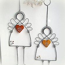 Dekorácie - anjel s medeným či zlatým srdiečkom    vianoce - 7344143_