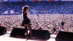 """The divine Chrissy Amphlett holding court at the MCG during the """"Australian Made"""" tour. Holding Court, Rock Queen, Women Of Rock, Land Of Oz, Music Photo, Music Industry, Wizard Of Oz, Rock Music, Music Artists"""