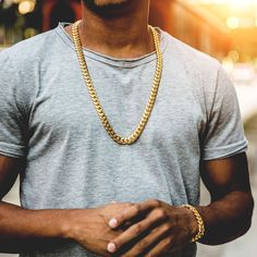 The strong, tightly-spaced links of our newest Miami Cuban Link Necklace makes for a classic, sleek design. Real Gold Chains, Gold Chains For Men, Necklace Length Guide, Necklace Lengths, Mens Chain Necklace, Simple Necklace, Gold Necklace, Clean Gold Jewelry, Luxury Jewelry