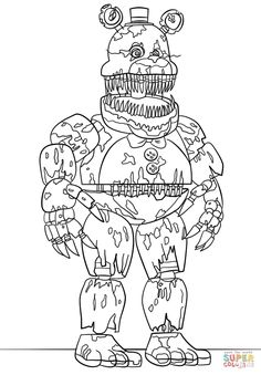 Nightmare Fredbear Scary Fnaf Coloring Pages Printable And Book To Print For Free Find More Online Kids Adults Of
