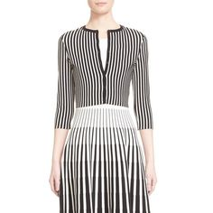 Women's Tomas Maier Stripe Cropped Cardigan ($690) ❤ liked on Polyvore featuring tops, cardigans, white crop top, stripe cardigan, graphic tops, 3/4 sleeve cardigan and striped cardigan