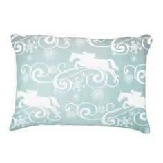 Trotting Horse Holiday Christmas Accent Pillow. This classic and stylish equestrian christmas or holiday horse themed design features a trotting white horse with a pretty damask pattern and red banner across the middle for a very festive look.
