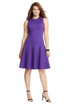 Lauren Ralph Lauren Women's Plus Phanessa Sleeveless Casual Ponte Dress