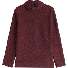 A.P.C. Wool Turtleneck Top (255,835 KRW) ❤ liked on Polyvore featuring tops, sweaters, red, red turtleneck sweater, red wool sweater, woolen sweaters, a.p.c. sweater and a.p.c.