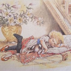 Semco no count cross stitch, Victorian Children Reading, Kit number 1430.7 by KindredClassics on Etsy Needlepoint Kits, Needlepoint Canvases, Knitting Projects, Craft Projects, Children Reading, My Canvas, Girl Falling, New Puppy, How To Fall Asleep