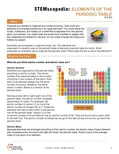 8.P 8.6 Elements of the Periodic Table