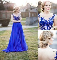Royal Blue Appliques Real Made Prom Dresses,Long Evening Dresses,Prom Dresses On Sale,XS36