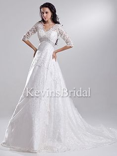 A-Line Floor Length Lace Modest Winter V-Neck Covered  Gown -  - Style KB0630 - Elegant