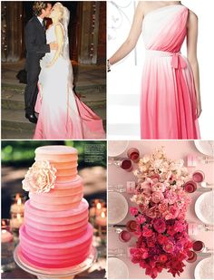 Pink Ombre, if i was brave i would of had a pink ombre wedding dress like gwen, opted for pink ombre back drop in stead