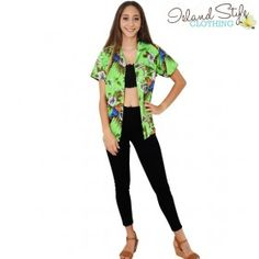 Green Magnum Ladies Hawaiian Shirts Parrot Birds Unisex