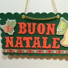"""Targa """"Buon Natale"""" Campana  in feltro e gomma crepla creata con l'aiuto di Sizzix Big Shot"""