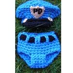 Police Officer Hat & Diaper Cover