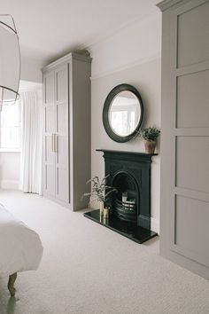 Built In Wardrobes Painted In Little Greene Paint - Characterful Edwardian Semi Detached Property Birmingham, Home Bedroom, Bedroom Decor, Master Bedroom, Bedroom Ideas, Bedroom Built In Wardrobe, Alcove Wardrobe, Wardrobe Closet, Edwardian Haus