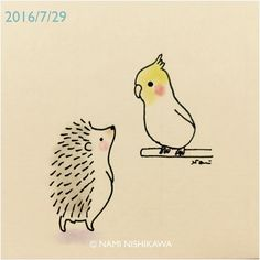 928 #オカメインコ と #ハリネズミ a #cockatiel and a #hedgehog #illustration #イラスト #なみはりねずみ #illustagram