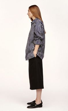 This iconic unisex Piccolo print shirt is made of woven cotton. It has a straight cut to the hip hemline with little side slits and a stitched-on chest pocket. Metal buttons secure the front closure and cuffs. Marimekko, Metal Buttons, Printed Shirts, Hemline, Normcore, Stripes, Unisex, Chic, My Style