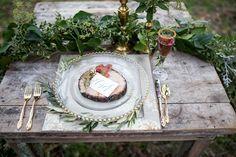 forest wedding tablescape - photo by Nikita Lee http://ruffledblog.com/glam-winter-bridal-inspiration