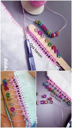 Beadwork with ice bar - Easy DIY Crafts Crochet Borders, Crochet Flower Patterns, Crochet Flowers, Crochet Lace, Crochet Stitches, Knitting Patterns, Hand Embroidery Dress, Tambour Embroidery, Hairpin Lace